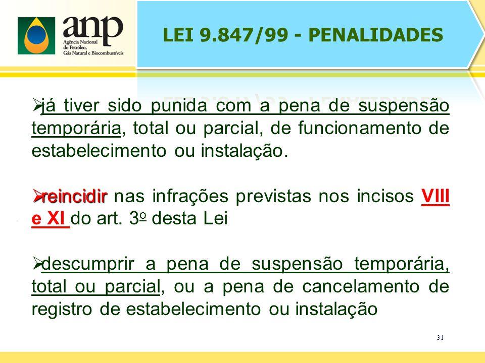 31 já tiver sido punida com a pena de suspensão temporária, total ou parcial, de funcionamento de estabelecimento ou instalação.