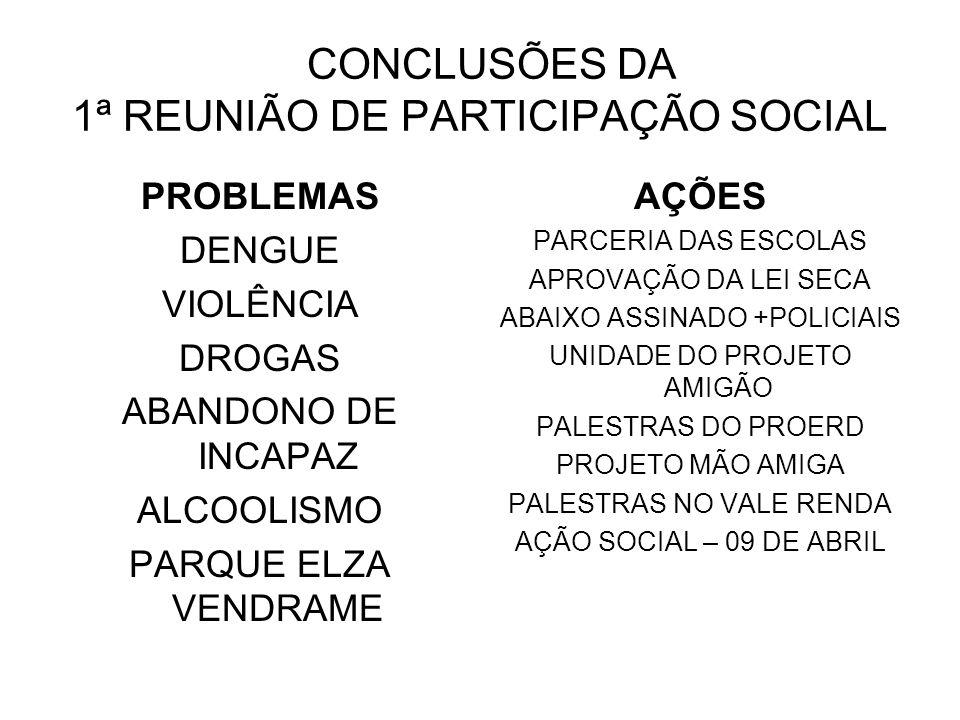 CONCLUSÕES DA 1ª REUNIÃO DE PARTICIPAÇÃO SOCIAL PROBLEMAS DENGUE VIOLÊNCIA DROGAS ABANDONO DE INCAPAZ ALCOOLISMO PARQUE ELZA VENDRAME AÇÕES PARCERIA D