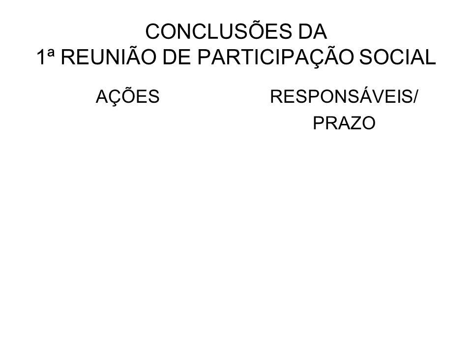 CONCLUSÕES DA 1ª REUNIÃO DE PARTICIPAÇÃO SOCIAL AÇÕESRESPONSÁVEIS/ PRAZO
