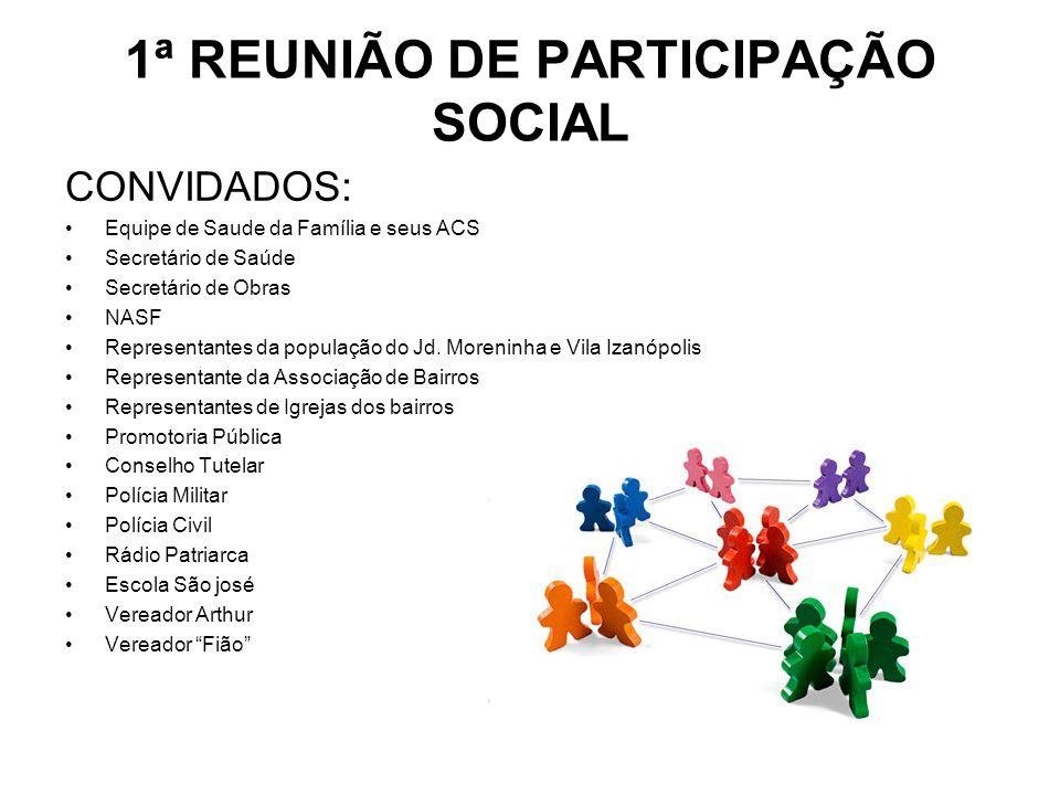 1ª REUNIÃO DE PARTICIPAÇÃO SOCIAL CONVIDADOS: Equipe de Saude da Família e seus ACS Secretário de Saúde Secretário de Obras NASF Representantes da pop