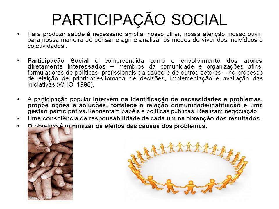 PARTICIPAÇÃO SOCIAL Para produzir saúde é necessário ampliar nosso olhar, nossa atenção, nosso ouvir; para nossa maneira de pensar e agir e analisar o