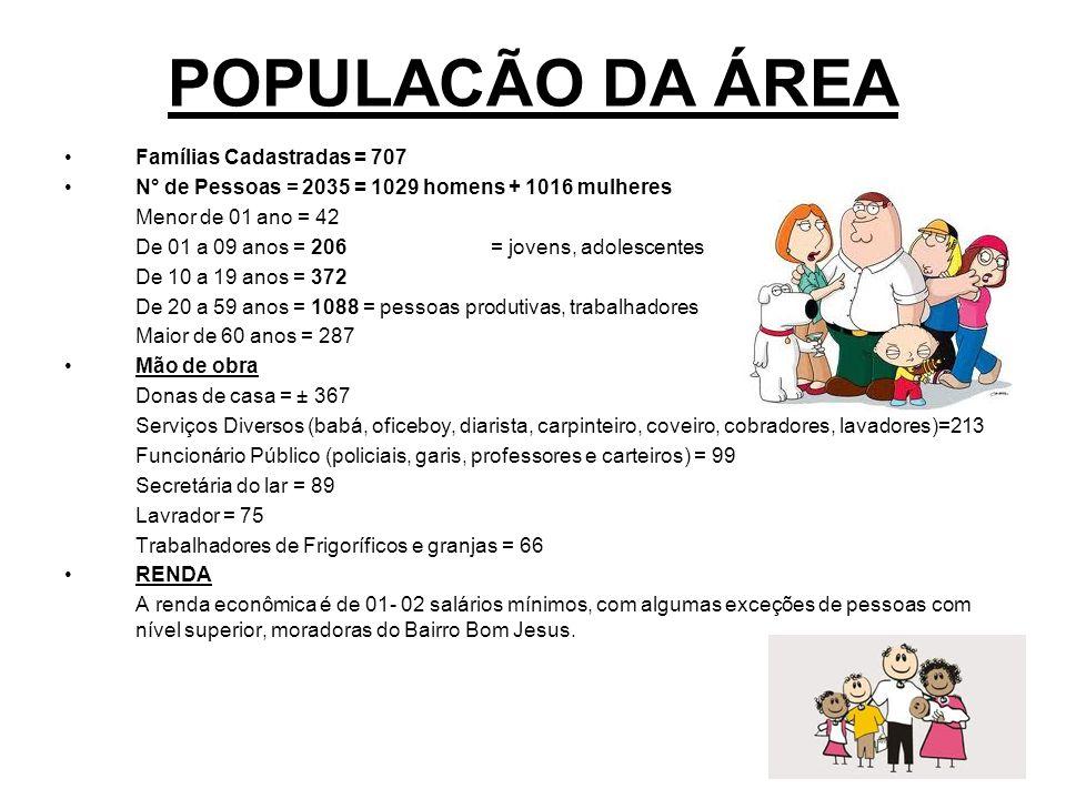 POPULACÃO DA ÁREA Famílias Cadastradas = 707 N° de Pessoas = 2035 = 1029 homens + 1016 mulheres Menor de 01 ano = 42 De 01 a 09 anos = 206= jovens, ad