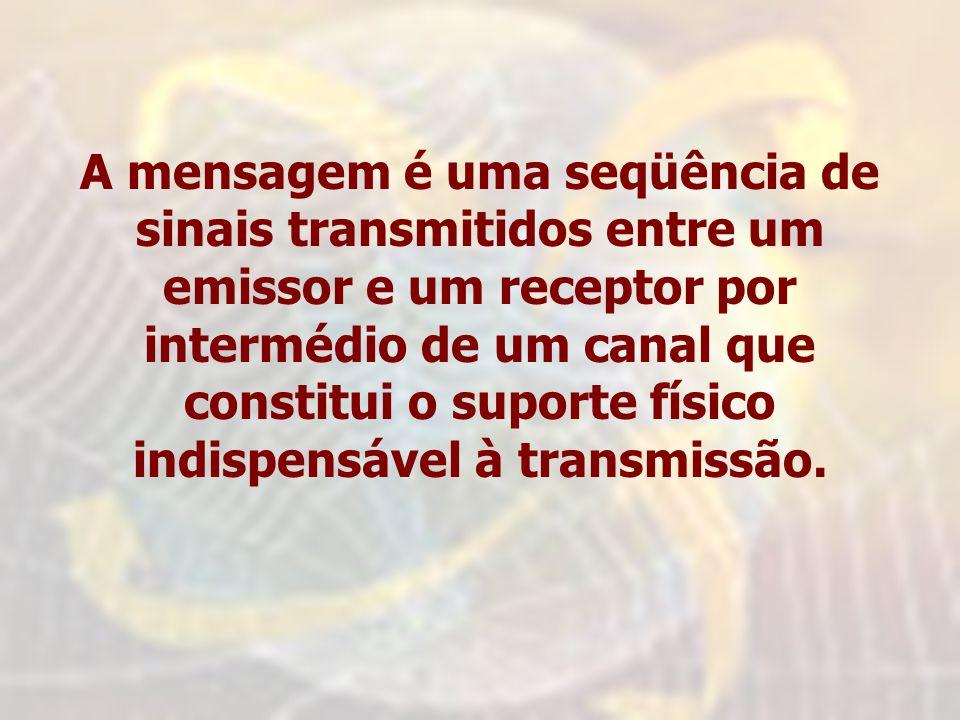 A mensagem é uma seqüência de sinais transmitidos entre um emissor e um receptor por intermédio de um canal que constitui o suporte físico indispensáv