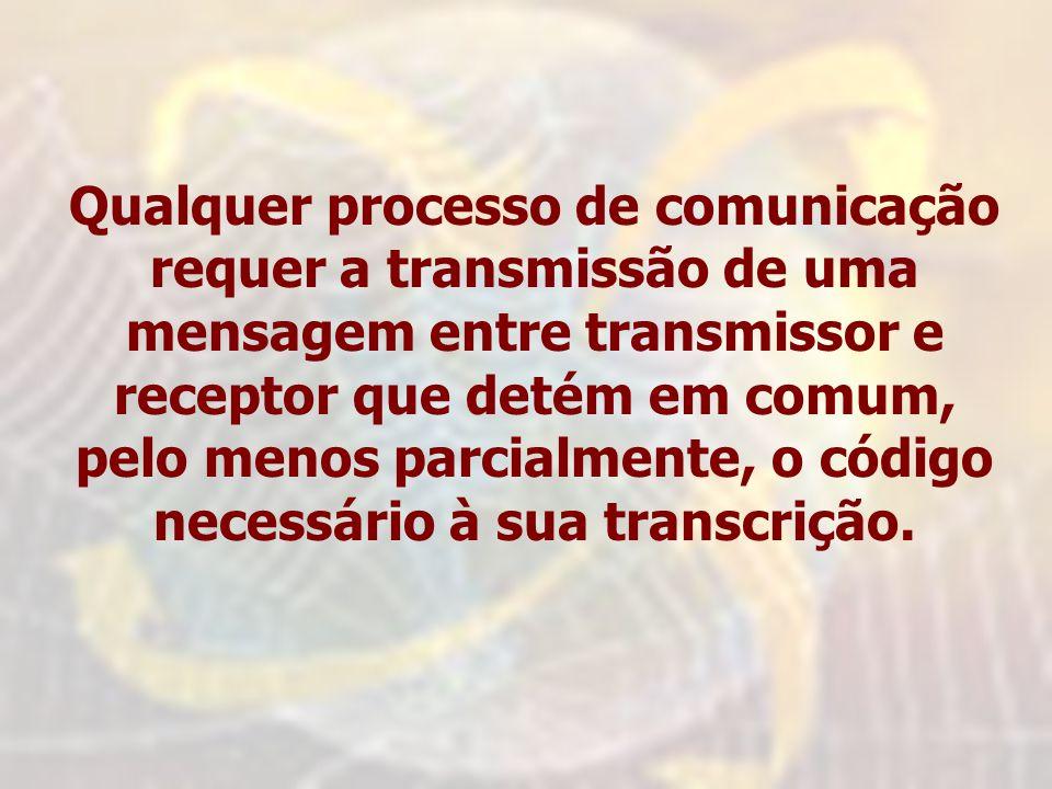 Qualquer processo de comunicação requer a transmissão de uma mensagem entre transmissor e receptor que detém em comum, pelo menos parcialmente, o códi