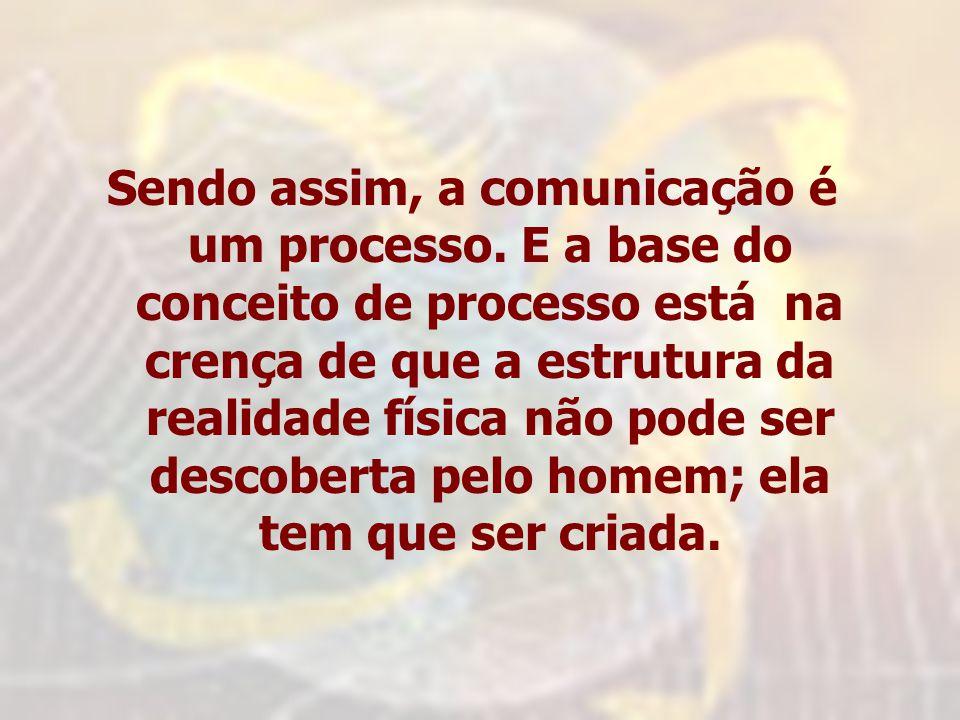 Sendo assim, a comunicação é um processo. E a base do conceito de processo está na crença de que a estrutura da realidade física não pode ser descober