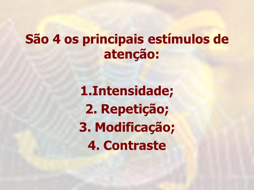 São 4 os principais estímulos de atenção: 1.Intensidade; 2. Repetição; 3. Modificação; 4. Contraste