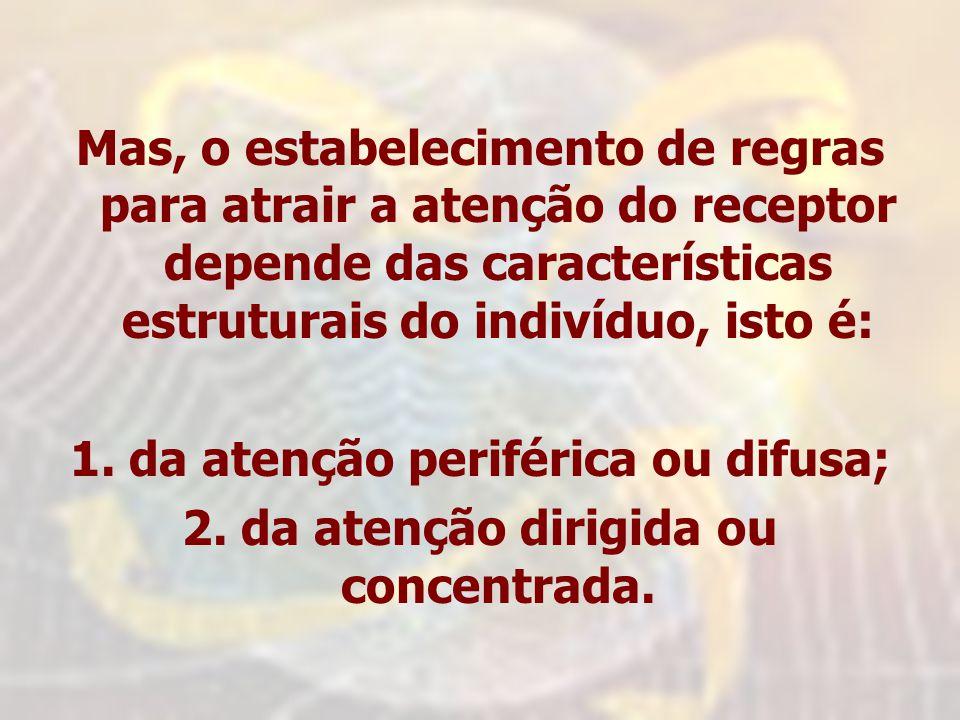 Mas, o estabelecimento de regras para atrair a atenção do receptor depende das características estruturais do indivíduo, isto é: 1. da atenção perifér