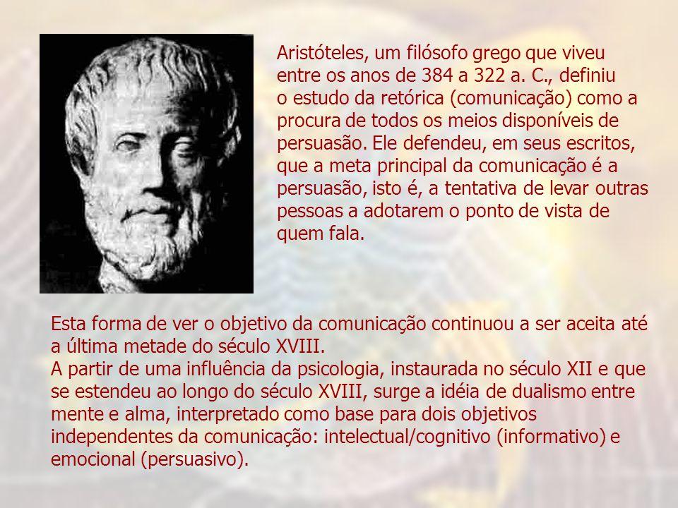 Aristóteles, um filósofo grego que viveu entre os anos de 384 a 322 a. C., definiu o estudo da retórica (comunicação) como a procura de todos os meios
