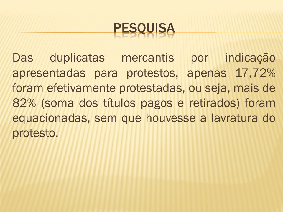Das duplicatas mercantis por indicação apresentadas para protestos, apenas 17,72% foram efetivamente protestadas, ou seja, mais de 82% (soma dos títulos pagos e retirados) foram equacionadas, sem que houvesse a lavratura do protesto.