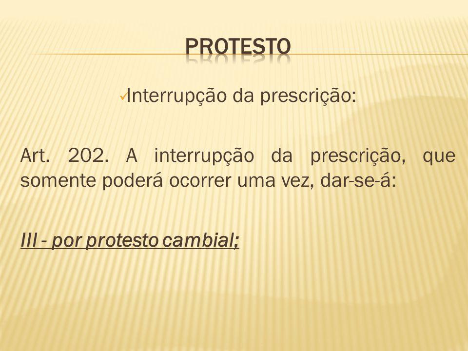 Interrupção da prescrição: Art.202.