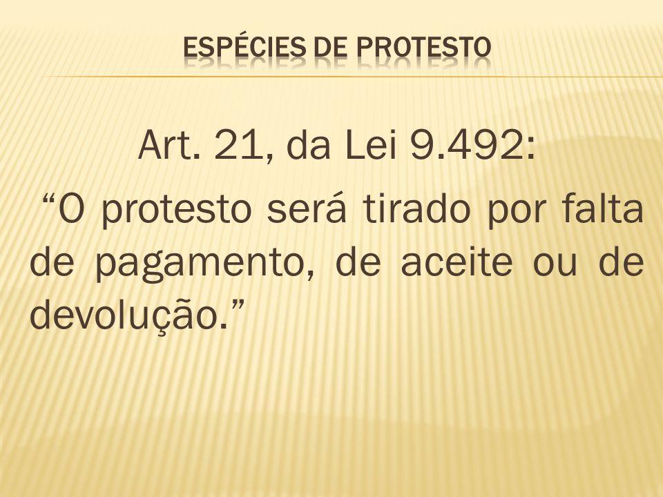 Art. 21, da Lei 9.492: O protesto será tirado por falta de pagamento, de aceite ou de devolução.