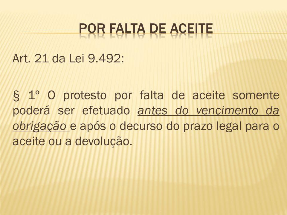 Art. 21 da Lei 9.492: § 1º O protesto por falta de aceite somente poderá ser efetuado antes do vencimento da obrigação e após o decurso do prazo legal