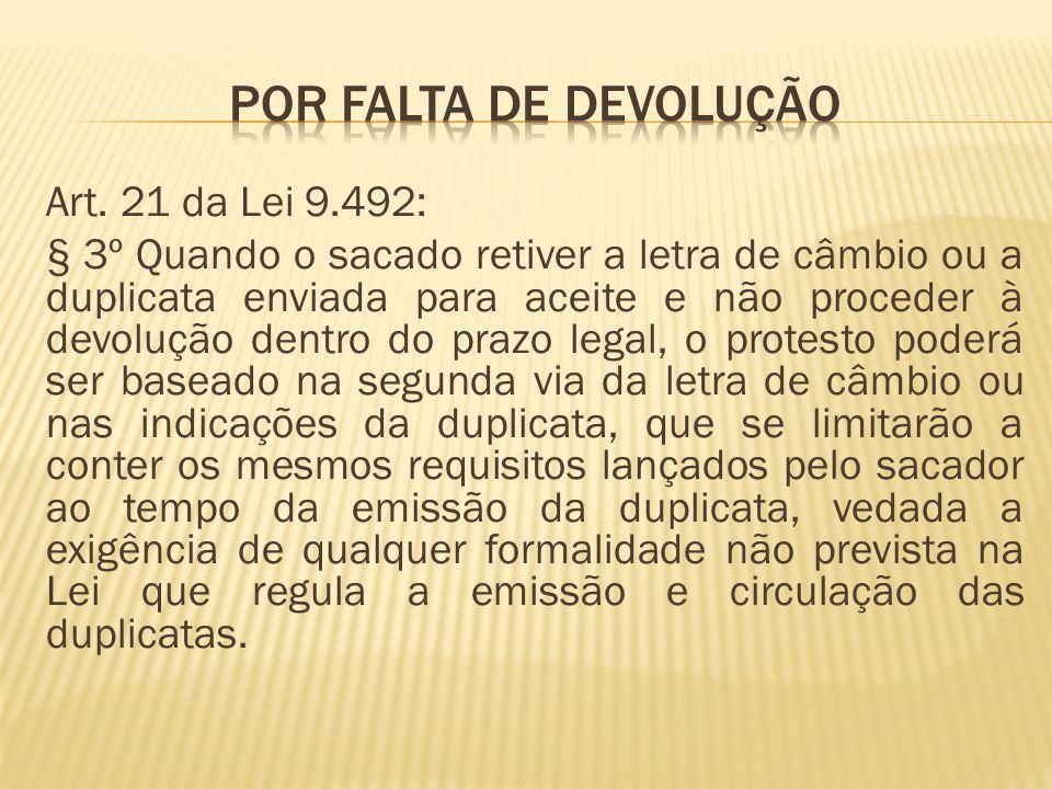 Art. 21 da Lei 9.492: § 3º Quando o sacado retiver a letra de câmbio ou a duplicata enviada para aceite e não proceder à devolução dentro do prazo leg