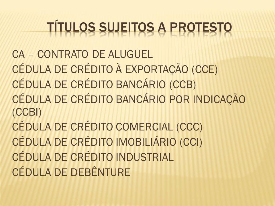 CA – CONTRATO DE ALUGUEL CÉDULA DE CRÉDITO À EXPORTAÇÃO (CCE) CÉDULA DE CRÉDITO BANCÁRIO (CCB) CÉDULA DE CRÉDITO BANCÁRIO POR INDICAÇÃO (CCBI) CÉDULA DE CRÉDITO COMERCIAL (CCC) CÉDULA DE CRÉDITO IMOBILIÁRIO (CCI) CÉDULA DE CRÉDITO INDUSTRIAL CÉDULA DE DEBÊNTURE