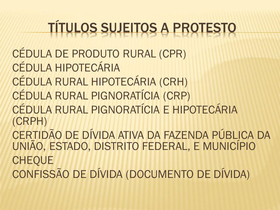 CÉDULA DE PRODUTO RURAL (CPR) CÉDULA HIPOTECÁRIA CÉDULA RURAL HIPOTECÁRIA (CRH) CÉDULA RURAL PIGNORATÍCIA (CRP) CÉDULA RURAL PIGNORATÍCIA E HIPOTECÁRIA (CRPH) CERTIDÃO DE DÍVIDA ATIVA DA FAZENDA PÚBLICA DA UNIÃO, ESTADO, DISTRITO FEDERAL, E MUNICÍPIO CHEQUE CONFISSÃO DE DÍVIDA (DOCUMENTO DE DÍVIDA)