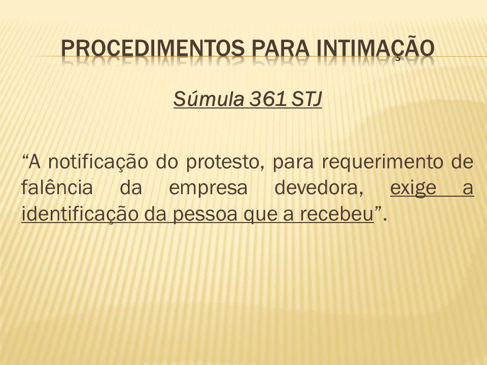 Súmula 361 STJ A notificação do protesto, para requerimento de falência da empresa devedora, exige a identificação da pessoa que a recebeu.