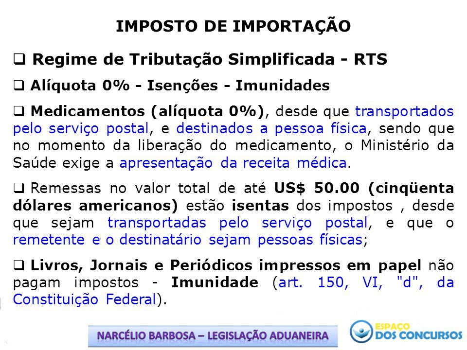 IMPOSTO DE IMPORTAÇÃO Regime de Tributação Simplificada - RTS Alíquota 0% - Isenções - Imunidades Medicamentos (alíquota 0%), desde que transportados