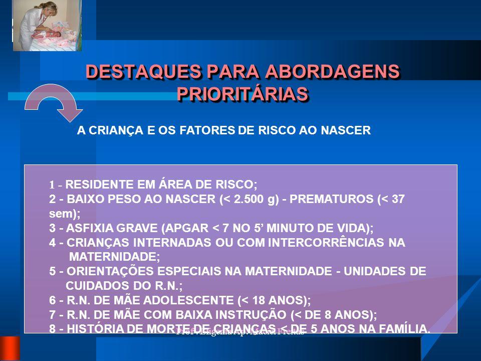 Profª. Efigenia Ap. Maciel Freitas DESTAQUES PARA ABORDAGENS PRIORITÁRIAS A CRIANÇA E OS FATORES DE RISCO AO NASCER 1 - RESIDENTE EM ÁREA DE RISCO; 2