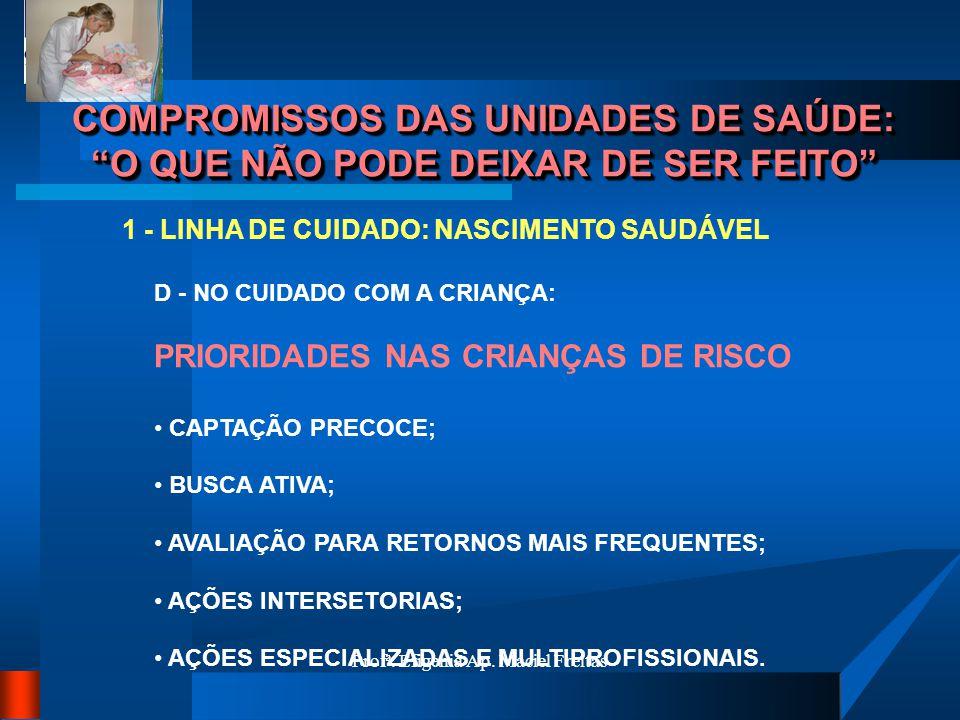 Profª. Efigenia Ap. Maciel Freitas COMPROMISSOS DAS UNIDADES DE SAÚDE: O QUE NÃO PODE DEIXAR DE SER FEITO 1 - LINHA DE CUIDADO: NASCIMENTO SAUDÁVEL D