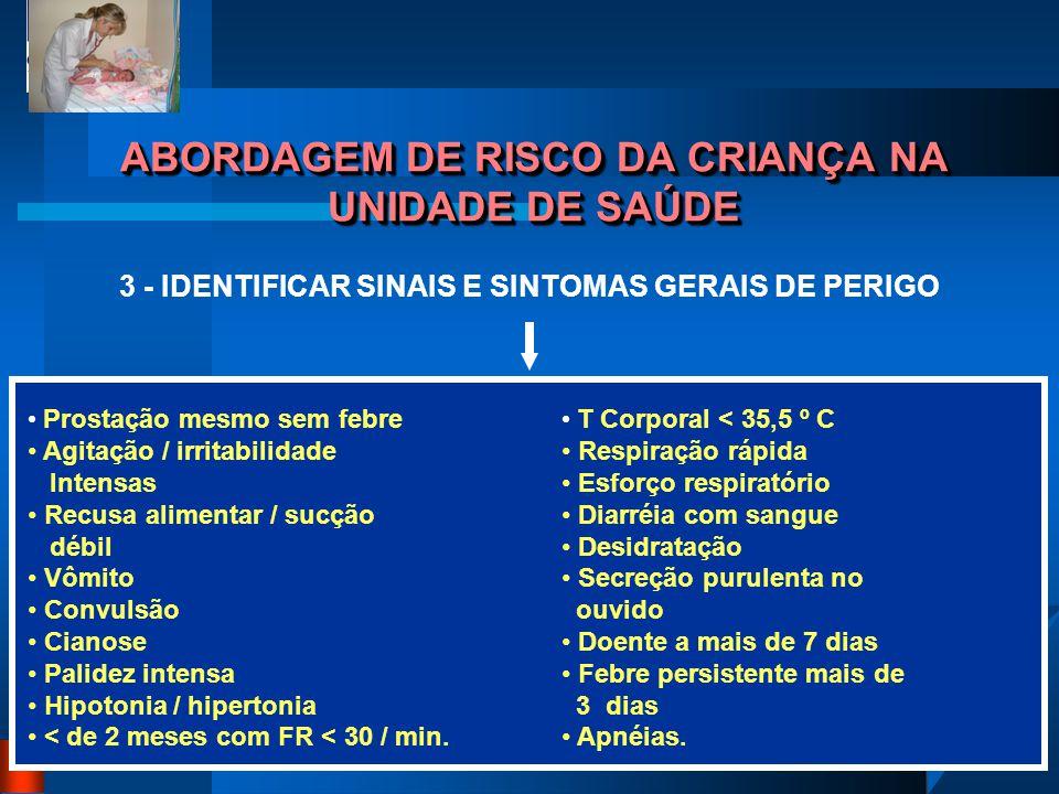 Profª. Efigenia Ap. Maciel Freitas ABORDAGEM DE RISCO DA CRIANÇA NA UNIDADE DE SAÚDE 3 - IDENTIFICAR SINAIS E SINTOMAS GERAIS DE PERIGO Prostação mesm