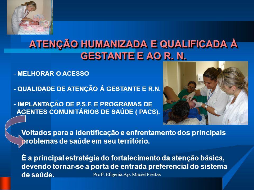 Profª. Efigenia Ap. Maciel Freitas ATENÇÃO HUMANIZADA E QUALIFICADA À GESTANTE E AO R. N. - MELHORAR O ACESSO - QUALIDADE DE ATENÇÃO À GESTANTE E R.N.