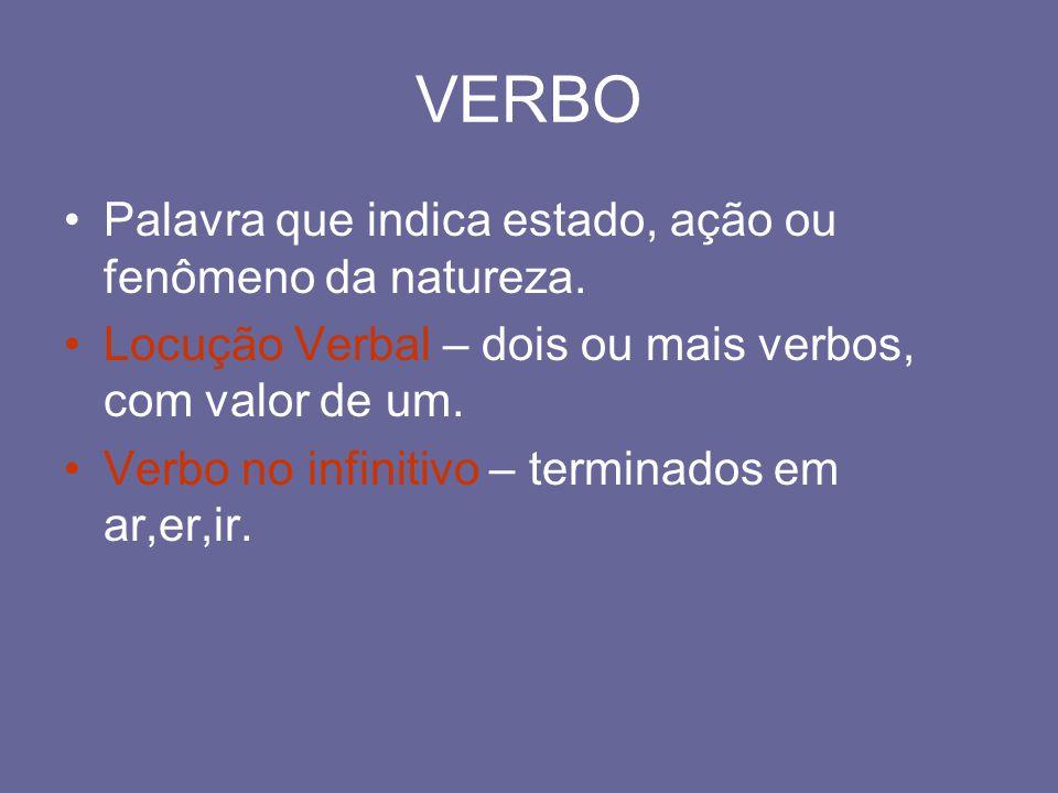 VERBO Palavra que indica estado, ação ou fenômeno da natureza. Locução Verbal – dois ou mais verbos, com valor de um. Verbo no infinitivo – terminados
