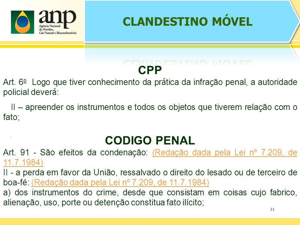 31. CPP Art. 6 o Logo que tiver conhecimento da pr á tica da infra ç ão penal, a autoridade policial dever á : II – apreender os instrumentos e todos