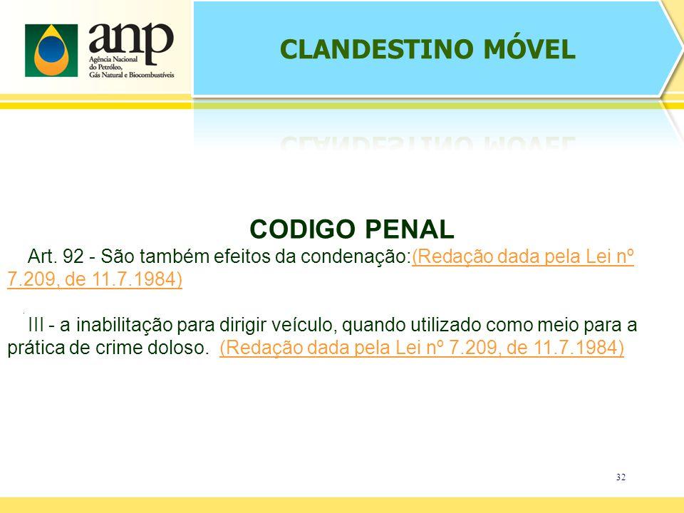 32. CODIGO PENAL Art. 92 - São também efeitos da condenação:(Redação dada pela Lei nº 7.209, de 11.7.1984)(Redação dada pela Lei nº 7.209, de 11.7.198