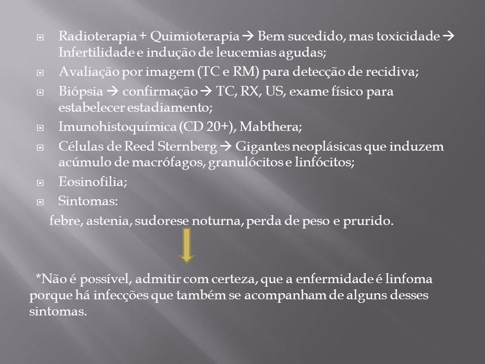 Radioterapia + Quimioterapia Bem sucedido, mas toxicidade Infertilidade e indução de leucemias agudas; Avaliação por imagem (TC e RM) para detecção de