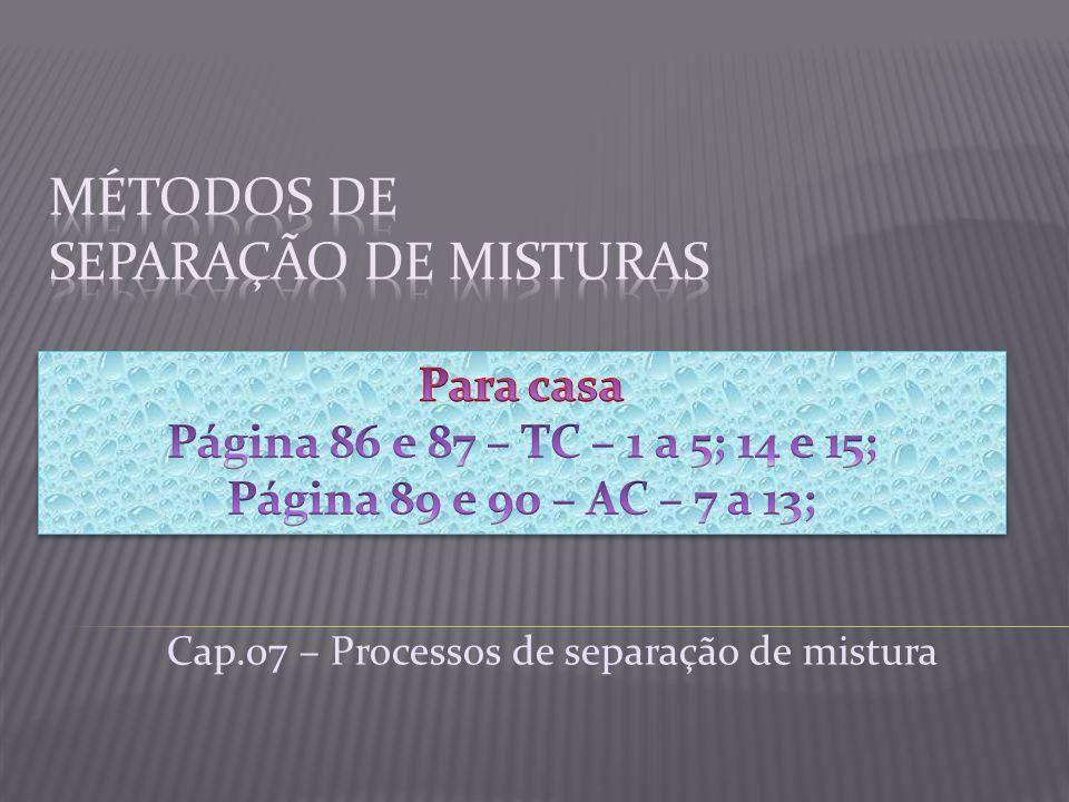 Cap.07 – Processos de separação de mistura