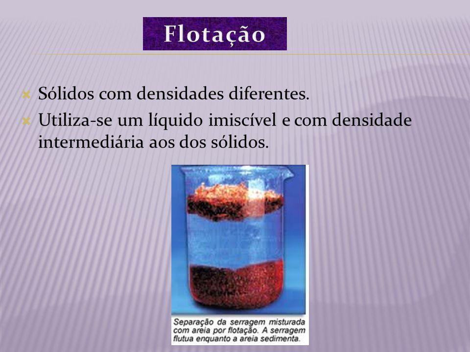 Sólidos com densidades diferentes. Utiliza-se um líquido imiscível e com densidade intermediária aos dos sólidos.