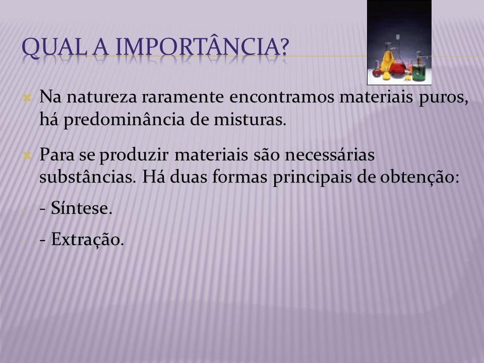 Na natureza raramente encontramos materiais puros, há predominância de misturas. Para se produzir materiais são necessárias substâncias. Há duas forma