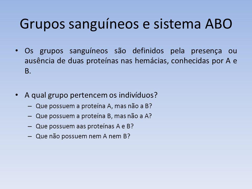 Grupos sanguíneos e sistema ABO Os grupos sanguíneos são definidos pela presença ou ausência de duas proteínas nas hemácias, conhecidas por A e B. A q