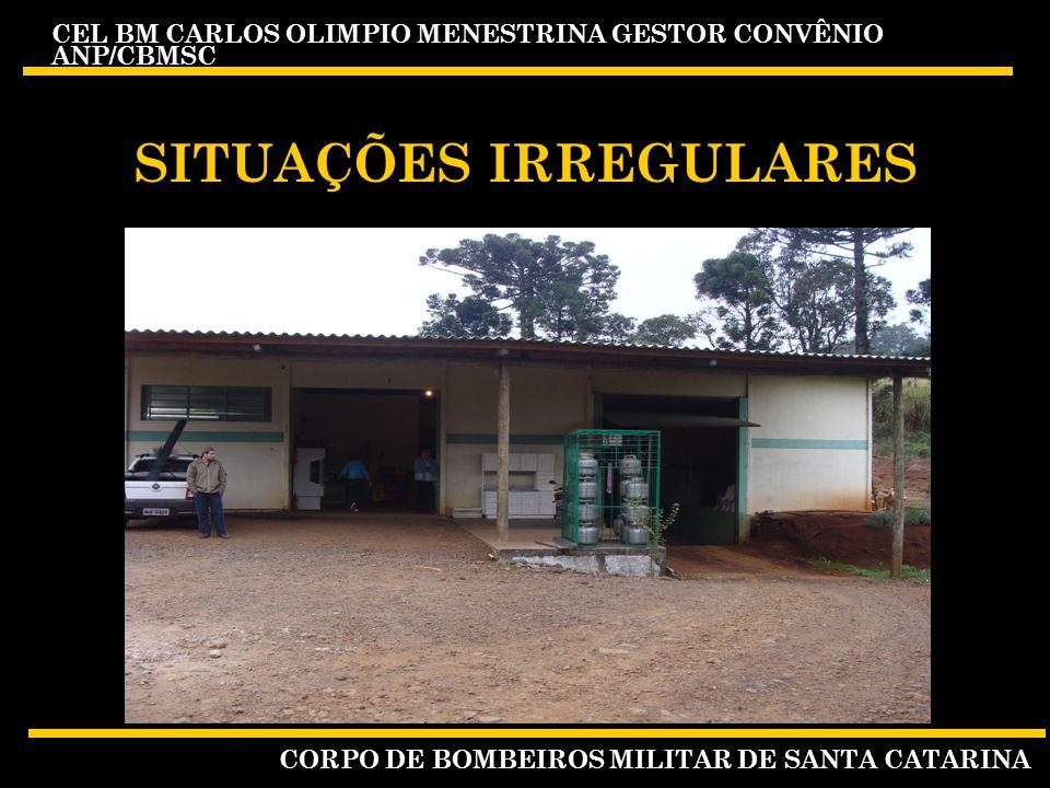 CEL BM CARLOS OLIMPIO MENESTRINA GESTOR CONVÊNIO ANP/CBMSC CORPO DE BOMBEIROS MILITAR DE SANTA CATARINA SITUAÇÕES IRREGULARES