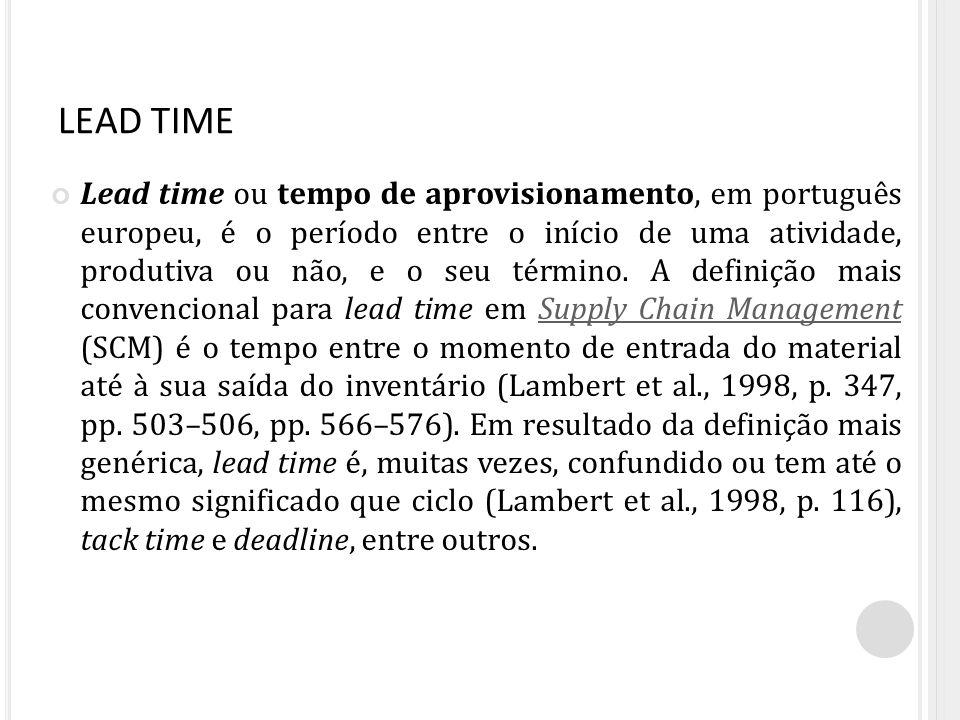 LEAD TIME Lead time ou tempo de aprovisionamento, em português europeu, é o período entre o início de uma atividade, produtiva ou não, e o seu término