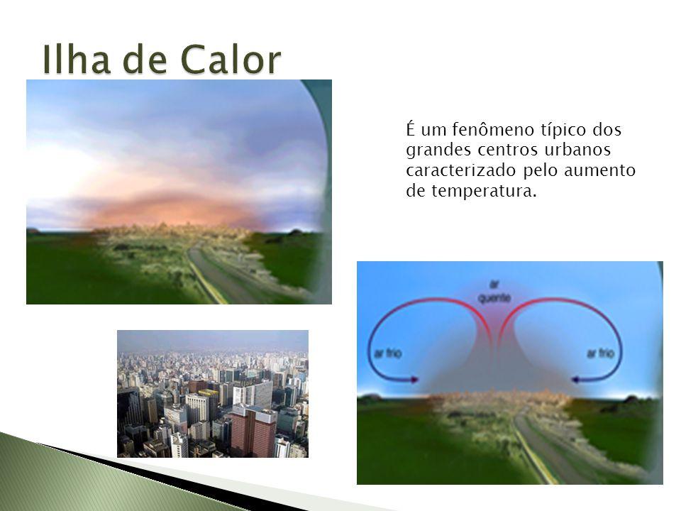 É um fenômeno típico dos grandes centros urbanos caracterizado pelo aumento de temperatura.