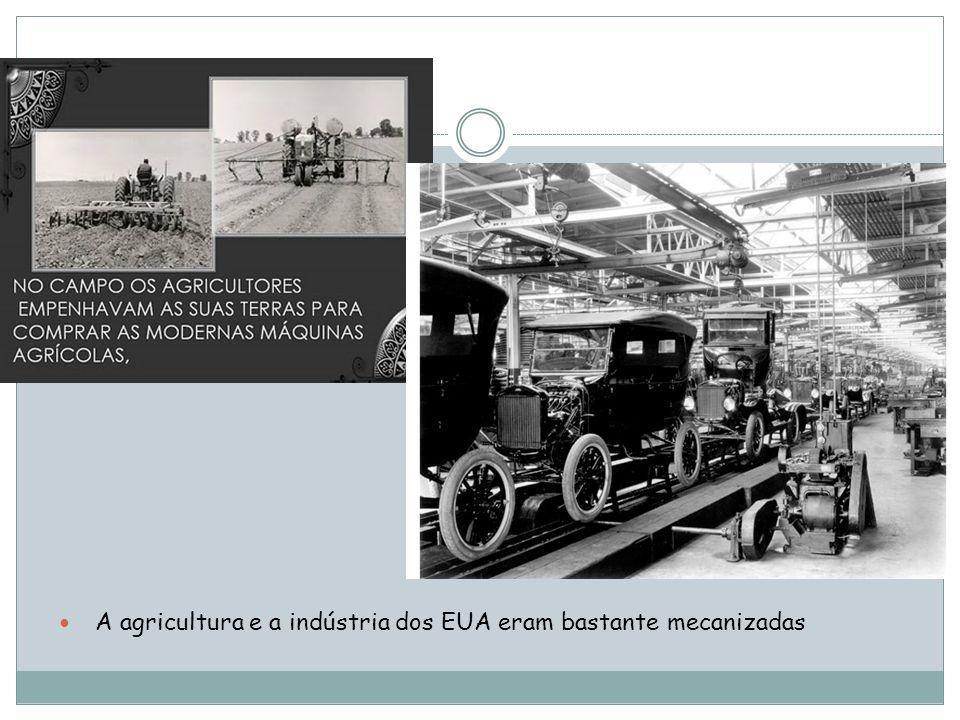 A agricultura e a indústria dos EUA eram bastante mecanizadas