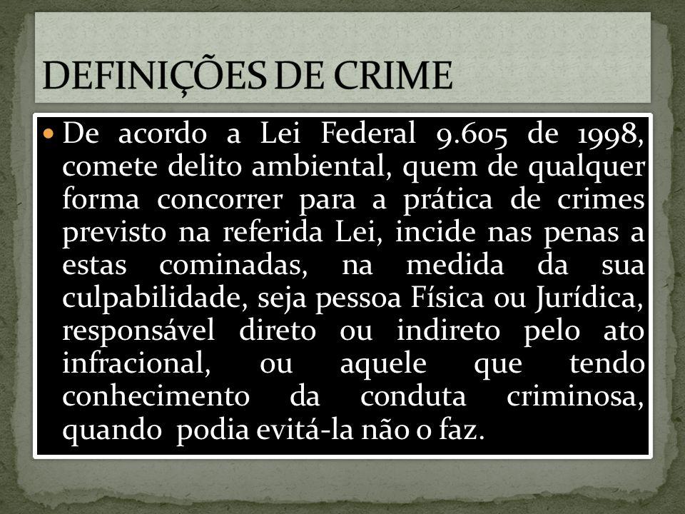 De acordo a Lei Federal 9.605 de 1998, comete delito ambiental, quem de qualquer forma concorrer para a prática de crimes previsto na referida Lei, in