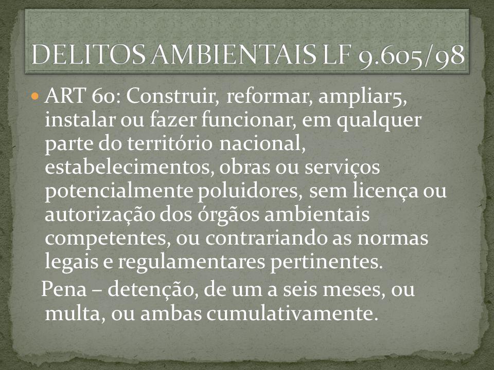 ART 60: Construir, reformar, ampliar5, instalar ou fazer funcionar, em qualquer parte do território nacional, estabelecimentos, obras ou serviços pote