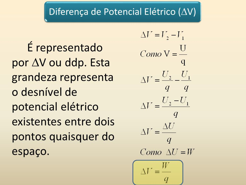 Diferença de Potencial Elétrico ( V) É representado por V ou ddp. Esta grandeza representa o desnível de potencial elétrico existentes entre dois pont