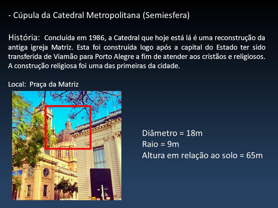 - Cúpula da Catedral Metropolitana (Semiesfera) História: Concluída em 1986, a Catedral que hoje está lá é uma reconstrução da antiga igreja Matriz. E