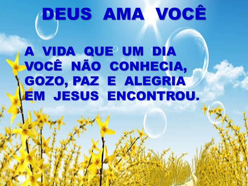 DEUS AMA VOCÊ A VIDA QUE UM DIA VOCÊ NÃO CONHECIA, GOZO, PAZ E ALEGRIA EM JESUS ENCONTROU A VIDA QUE UM DIA VOCÊ NÃO CONHECIA, GOZO, PAZ E ALEGRIA EM JESUS ENCONTROU.