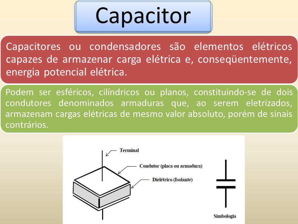 Capacitores ou condensadores são elementos elétricos capazes de armazenar carga elétrica e, conseqüentemente, energia potencial elétrica. Podem ser es