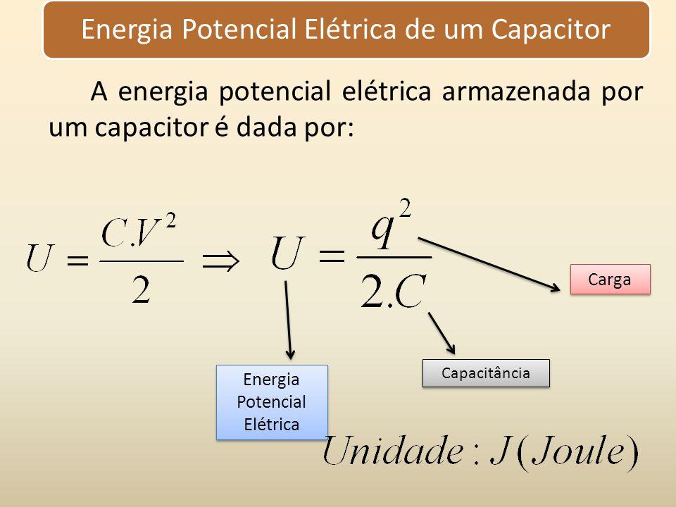 Energia Potencial Elétrica de um Capacitor A energia potencial elétrica armazenada por um capacitor é dada por: Energia Potencial Elétrica Capacitânci