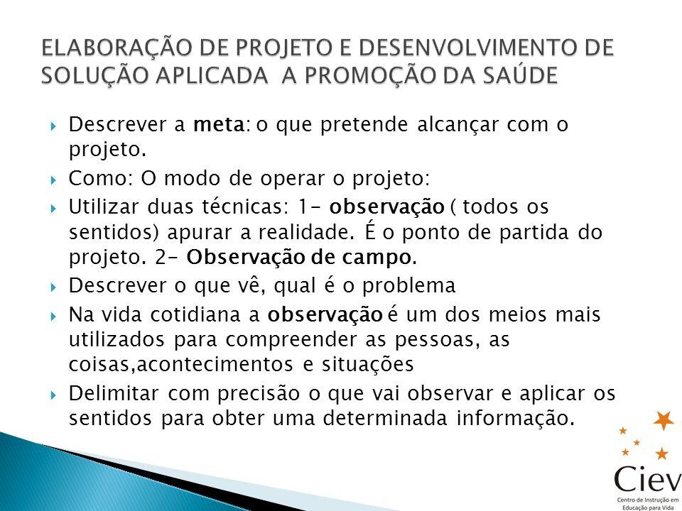 AJUDA A ESCOLHER O PROBLEMA ELABORAR A SOLUÇÃO Observação de campo: Aprofundar o que se pretende estudar Focaliza um aspecto Realiza o trabalho pessoalmente, no local Busca informações para o projeto Ajuda a escolher o tema do projeto Busca elementos para elaborar a solução a ser desenvolvida no projeto.-PESQUISAR SOLUÇÃO: PROTÓTIPO: MODELO PERFEITO PRODUTO: RESULTADO PROCESSO: MANEIRA DE OPERAR, TÉCNICA