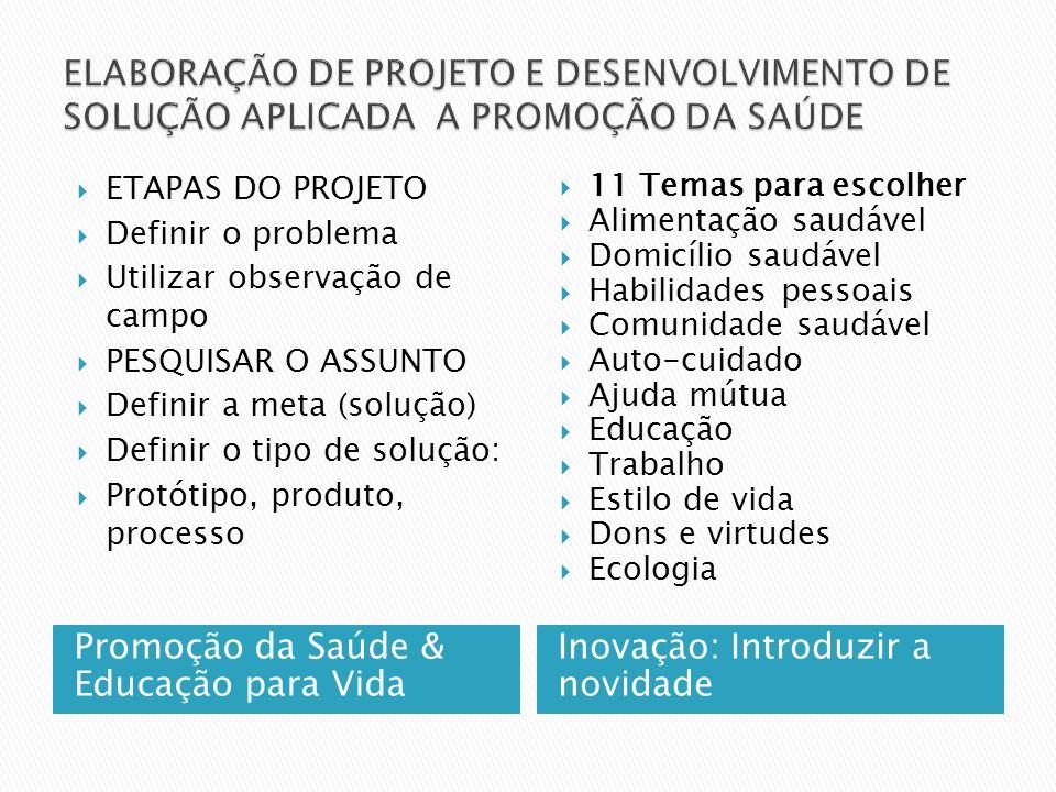 ROTEIRO PARA DESENVOLVIMENTO DO PROJETO: ESCOLHA DO TEMA DENTRO DOS EIXOS DA PROMOÇÃO DA SAÚDE E EDUCAÇÃO PARA VIDA OBSERVAÇÃO DE CAMPO: ESCOLHA O LOCAL DA OBSERVAÇÃO ( PESSOAL, PROFISSIONAL, COMUNITÁRIO, ETC ) DEFINIR E DELIMITAR O PROBLEMA: FAZER A PERGUNTA O QUE QUERO RESOLVER PSQUISAR SOBRE O ASSUNTO PARA AJUDAR NO DESENVOLVIMENTO DA SOLUÇÃO TRAÇAR A META: O QUE VAI SER FEITO DEFINR A SOLUÇÃO: COMO VAI SER FEITO: PRODUTO, PROCESSO, PROTÓTIPO, ORÇAMENTO: QUANTO VAI CUSTAR SOLUÇÃO APLICADA : RESULTADO CRONOGRAMA : TEMPO/ETAPAS: PARA EXECUTAR O PROJETO