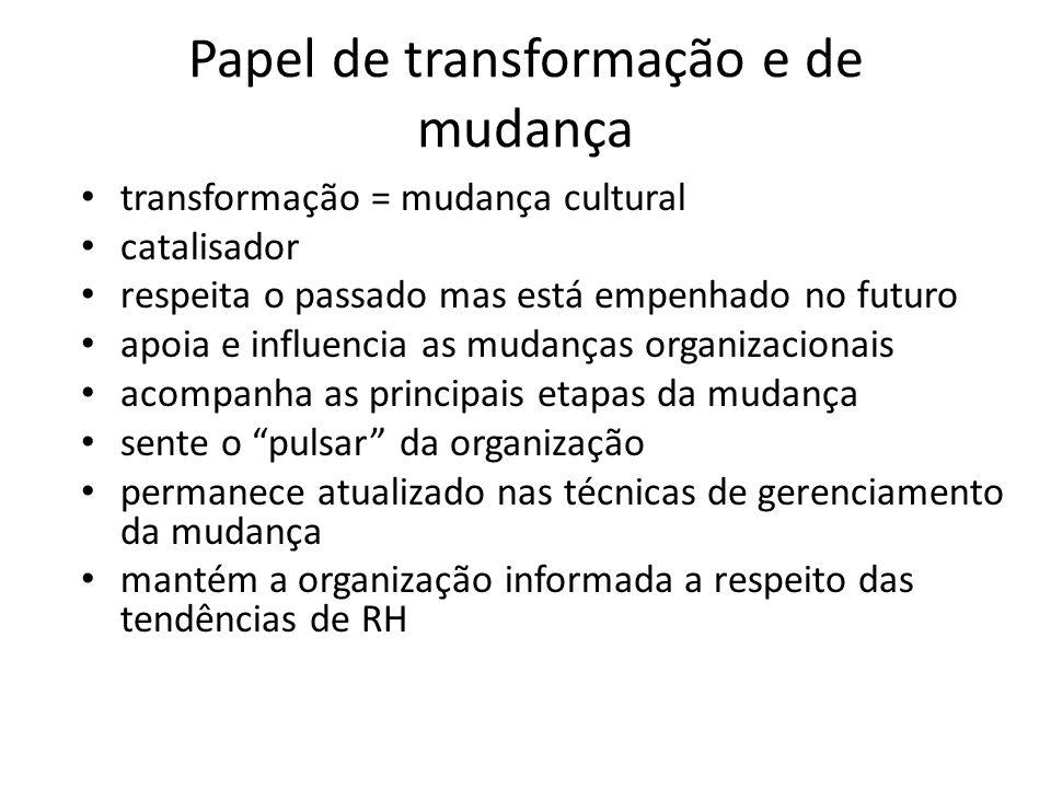 Papel de transformação e de mudança transformação = mudança cultural catalisador respeita o passado mas está empenhado no futuro apoia e influencia as