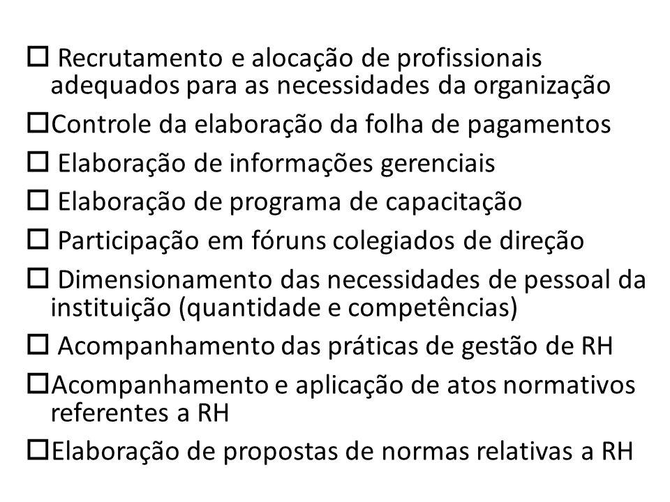 Recrutamento e alocação de profissionais adequados para as necessidades da organização Controle da elaboração da folha de pagamentos Elaboração de inf