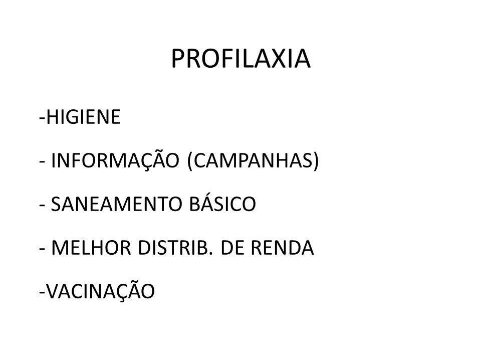 PROFILAXIA -HIGIENE - INFORMAÇÃO (CAMPANHAS) - SANEAMENTO BÁSICO - MELHOR DISTRIB. DE RENDA -VACINAÇÃO