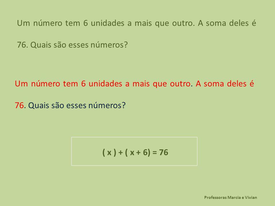 Professoras Marcia e Vivian Um número tem 6 unidades a mais que outro. A soma deles é 76. Quais são esses números? ( x ) + ( x + 6) = 76